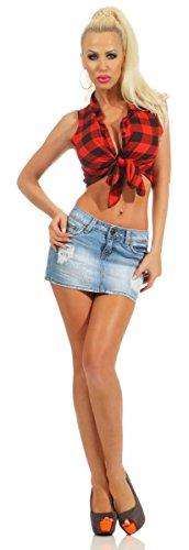 10898 Fashion4Young Damen Jeans Rock Jeansskirt Jeansrock Minirock Denim Stretch Blue Denim Blau