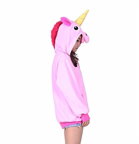 Casa Erwachsene Pyjama Tieroutfit Schlafanzug Tier Onesies Sleepsuit mit Kapuze Unisex Overall Halloween Kostüm Jumpsuit Rosa