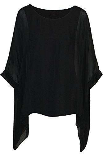 Seidentunika für Damen Made in Italy lang Fledermaus-Ärmel Schwarz 38 40 42  44 917f84d0d5