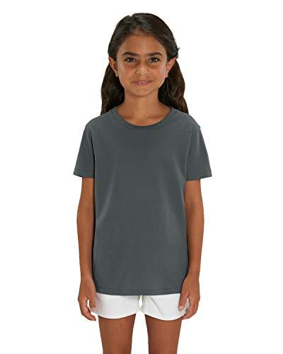 Hochwertiges Kinder T-Shirt aus 100{b8df11011eb32f10d50df4b3afc7d84cc61ef40be47c162518a4706b80381875} Bio-Baumwolle für Mädchen und Jungen. Eignet sich hervorragend zum bedrucken. (z.B.: mit Transfer-folien/Textilfolien), Size:98/104, Color:Anthrazit
