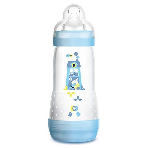 MAM Easy Start Anti-Colic Babyflasche (320 ml) - Babyflasche mit innovativem Bodenventil gegen Koliken - Baby Trinkflasche mit Sauger Größe 2, 4+Monate, Hunde, blau