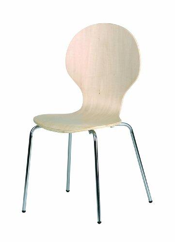 """Set di 4 sedie """"Formici"""", con telaio cromato e seduta in MDF, colore: Beige"""
