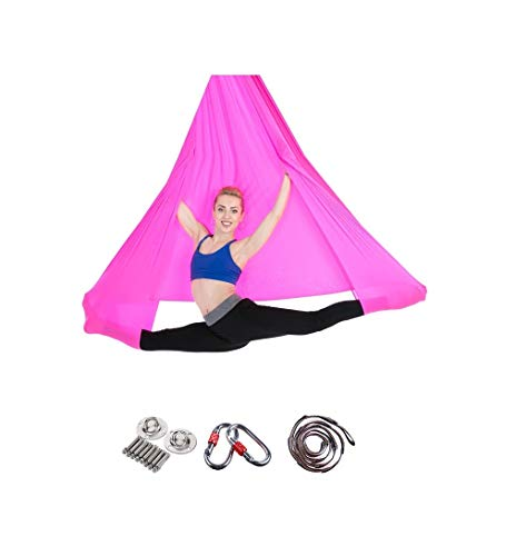 MILASIA Aerial Yoga Hängematte Set, Elastische Tuch Sling Swing Vertikaltuch Yogatuch Hammock Fitness für Pilates Gymnastik