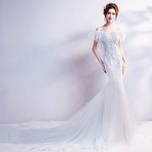 Yt-re abito da sera lungo con scollo profondo a vita alta con scollo a v e abito da sposa in pizzo, bianca, xs