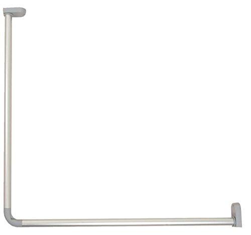 Brico-Materiaux - Kit Porte-Rideau D'Angle En Aluminium - 25 Mm - 80 X 80 - Finition : Alu Anodisé