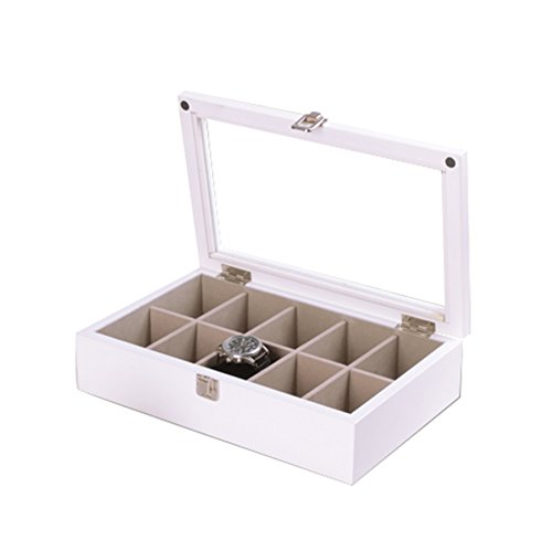 TG High-End Uhrenbox Schmuck Lagerung Sammlung Display Aufbewahrungsbox Holz Große Kapazität Design 10 Slots (12,5 * 7,8 * 3 Zoll),White