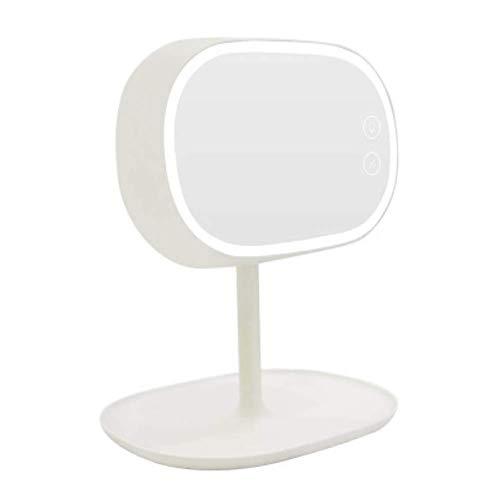 ZNDDB Schminkspiegel Tischlampe kann aufgeladen Werden Tragbarer LED-Speicher Kosmetikspiegel 360 ° drehbare Schlafzimmer-Nachttischlampe,White
