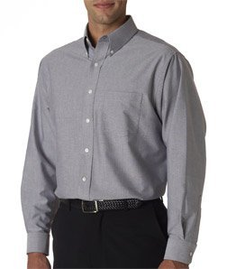 Oxford Woven Dress Shirt (Men's Classic Wrinkle-Resistant Long-Sleeve Oxford CHARCOAL M)