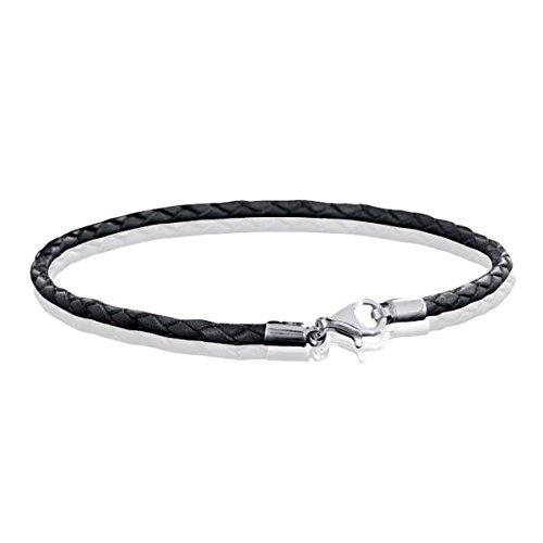 MATERIA Damen Herren Beads Armband Leder 3mm schwarz Frauen Armband rhodiniert 17-22cm/Made in Germany #A58, Länge:18 cm - Armband Bead Herren