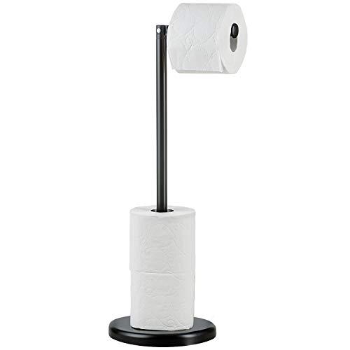 Tatkraft Loit Toilettenpapierhalter Ständer, Klopapierhalter Stehend, Rollenhalter WC, Stahl, schwarz, für Bis Zu 5 Toilettenpapierrollen, 55x19CM