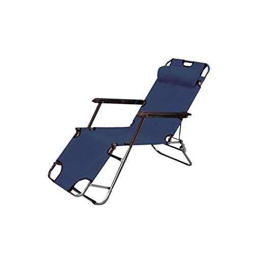 Chaise pliante Tabouret pliant réglable en acier (Couleur : Bleu foncé, taille : 156 * 45 * 80cm)