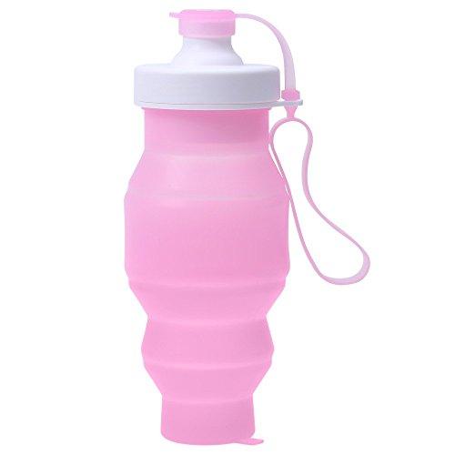 Sport zusammenklappbar tragbar Wasser Flasche umweltfreundlich mit auslaufsicherer Silikon für Wandern Camping Radfahren 520ml, rose (Gap-schwarz-bhs)