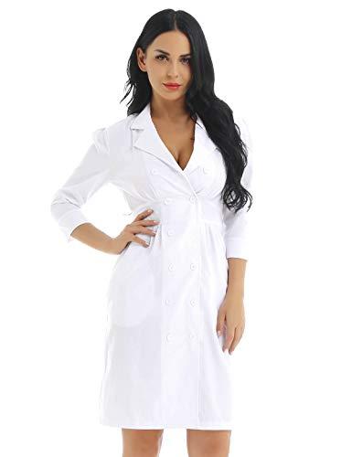 MSemis Laborkittel kittel Damen Medizin Arztkittel Arbeitsmantel Labormantel Schutzkleidung für Labor weiß Krankenschwester Kleid Weiß XXX-Large Xxx Large Kostüm