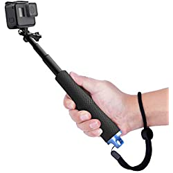 Luxebell Télescopique Extension Aluminium Pole Selfie Stick Pour Gopro Hero 7 6 5, Session 5, Hero 4/3+/3/2,Noir