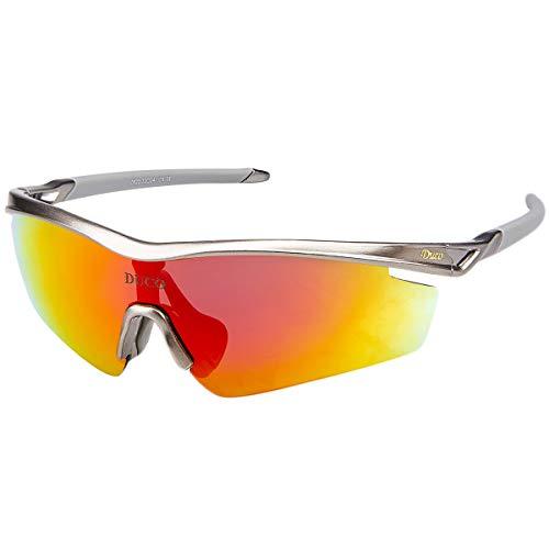 DUCO Radsportbrille Outdoor Sonnenbrille für Sportler polarisierte 5 austauschbare Gläser UV400 0022 (Rotguss)
