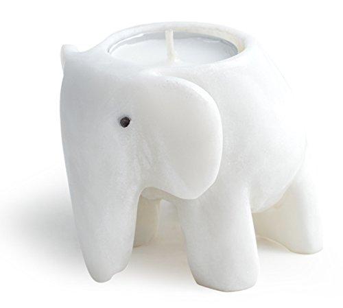 YogaStudio Elefante 3, Té luz Vela Titular, Piedra, White Marble - Elephant