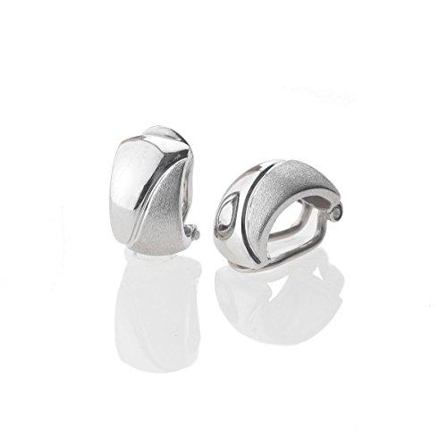 Ohrringe, Ohrclip 925 Sterling Silber glänzend/mattiert rhodiniert