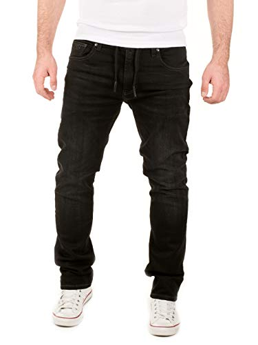 WOTEGA Herren Jeans Noah - Sweathose in Jeansoptik - Männer Jogg-Jeans Slim, Schwarz (Phantom Black 3R4205), W34/L38 Co Black Jeans