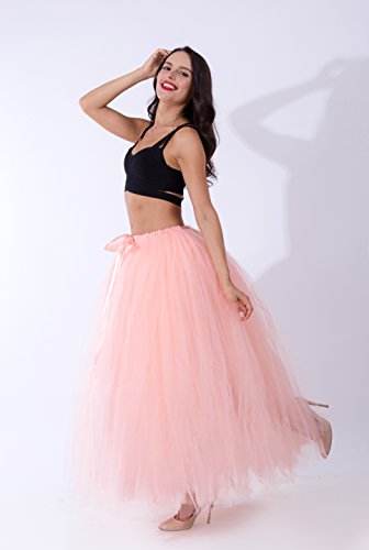 FOLOBE Donne Handmade pannello esterno puffy Tutu Tulle 100CM/39.4in peachpink