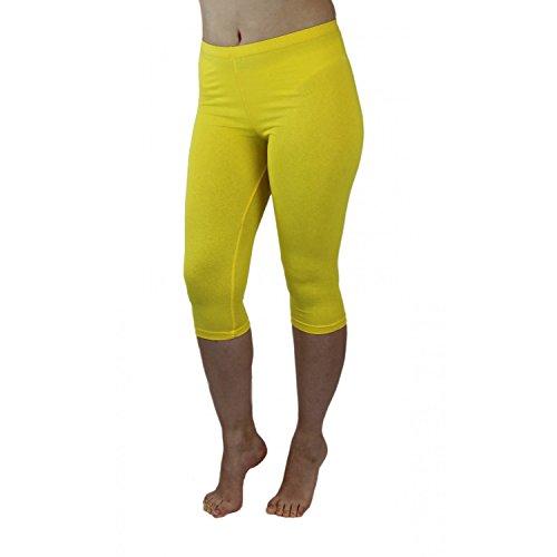 Blickdichte Leggings für Damen Capri Hose Leggins Bunt aus Baumwolle 3/4 Länge, Farbe: Gelb, Größe: 40-42