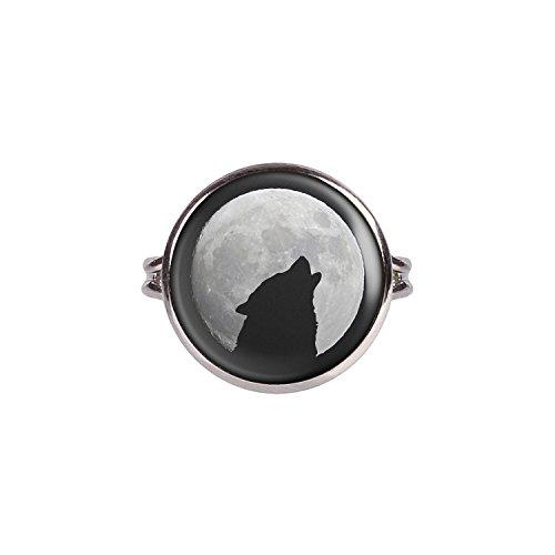 Mylery Ring mit Motiv Wolf Heult Mond Silhouette Sterne silber 16mm