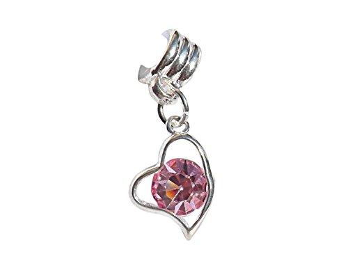 Silber Herz mit einem leichten Rosa Kristalle baumeln Charme Converse Turnschuhe ()