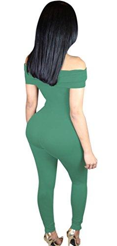 EOZY Femme 1pièce Ensemble Épaule Dénudé Pantalon Longue Combinaison Vert