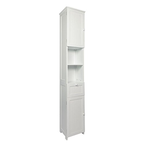 Woodluv Slim Shaker Tall Boy Free Standing Bathroom Storage Cabinet Unit White Search Furniture