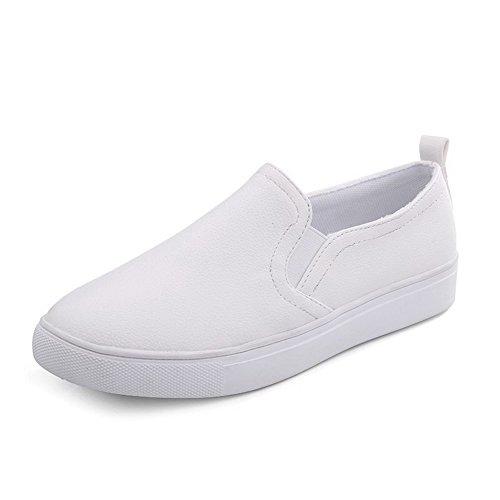 AllhqFashion Femme Cuir de Bœuf Couleur Unie Tire Rond à Talon Bas Chaussures Légeres Blanc
