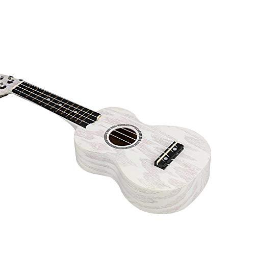 Holz-Ukulele, Fichte, Sapeli, 4 Saiten, kleine Gitarre, Spielzeug, Musikinstrument, Wolkenmusik, 43,2 cm, Soprankonzert Tenor, für Kinder und Kinder weiß