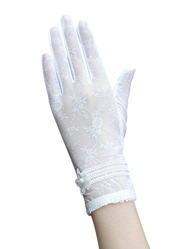 Damen Sommer Spitze Blume Sonnenschutz Handschuhe Fahrradhandschuhe Brauthandschuhe (Weiß) (Weiße Spitzen Handschuhe)