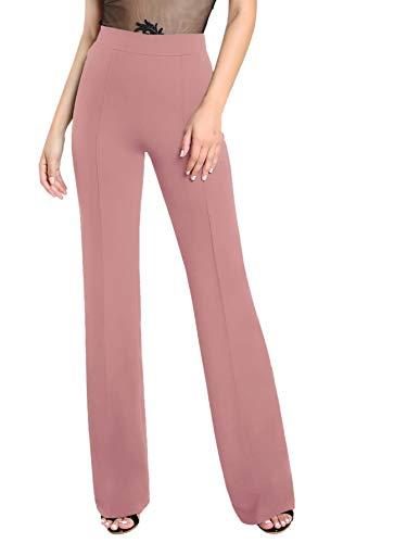 DIDK Damen Hosen Hohe Taille Breites Bein Lange Hose Palazzo Einfarbig Anzughose Büro Pants mit Reißverschluss Pink M -