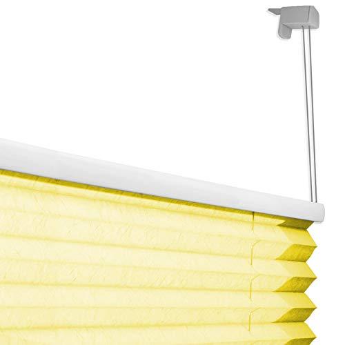casa pura® Plissee Rollo   mit eleganter Crushed Optik   Klemmfix ohne Bohren   lichtdurchlässig & blickdicht   gelb   8 Größen (120x100cm) - 5
