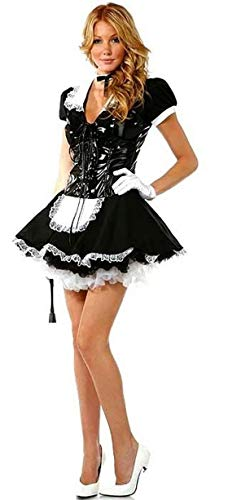 (Forever Young Ladies Flirty French Maid Uniform Kostüm mit Schnürsenkel aus PVC mit Miedergröße 46)