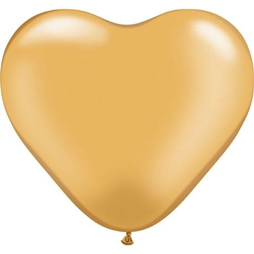 partydiscount24 10 Riesen-Herzballons - Ø 40 cm Gold