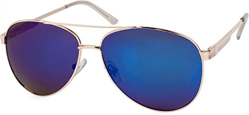 styleBREAKER polarisierte Sonnenbrille, Aviator Pilotenbrille mit Federscharnier, Etui und Putztuch, Unisex 09020046, Farbe:Gestell Hellgold / Glas Blau-Lila verspiegelt