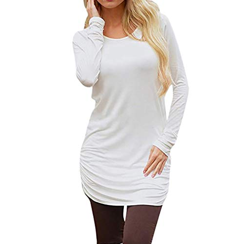 Schwarze Geraffte Tasche (Felicove Damen Vintage Langarm Tasche Casual Loose Rock T-Shirt Kleid Casual Dress Langarm Kleid Schlank Geraffte Tunika T-Shirt Kleid Mini Dress Damen Strickkleid Feinstrickkleid Kleid)