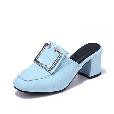 zhENfu Donna Sandali Slingback Comfort suole luce similpelle estate outdoor Abbigliamento Sportivo Split Joint Chunky Heel mandorla blu grigio nero2A-2 Blue