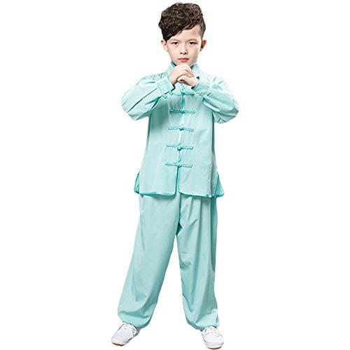 ZooBoo Tai-Chi Kinder Uniform Kleidung - Chinesische Kampfkunst Taiji Kung Fu Wushu Wing Chun Taekwondo Karate Sanda Training Wettbewerb Schaukampf Kinder Ensemble Anzug Kostüm Set für Junge Mädchen - Synthetische Seide (Blaugrün - Lange Ärmel, 170 cm)