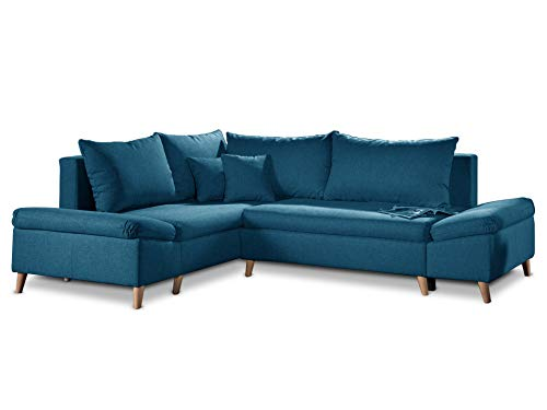 Bestmobilier - Rosa - Canapé d'angle scandinave Gauche Convertible avec Rangement - 258x196x85cm
