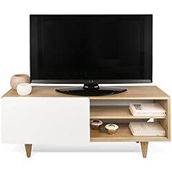 TemaHome Nyla Mobile Porta TV, Legno, Rovere/Bianco, 120x34x50 cm
