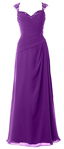 MACloth Women Cap Sleeves Long Mother of Bride Dress Open Back Party Formal Gown (Custom Size, Amethyst) (Neck Scoop Top Sleeve Short Pleated)