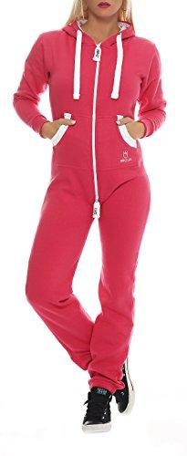 PRINZ LUIS Damen Jumpsuit Jogger Jogging Anzug Trainingsanzug Overall (S, Pink)