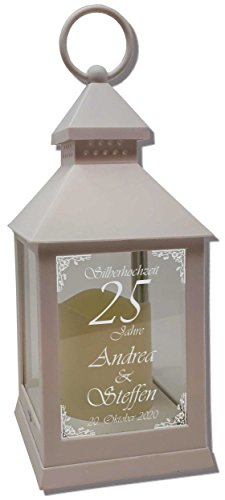 UDIG Mini Laterne mit LED Kerze weiß Mod. 3 mit Hochzeitstag Text-Gravur 24x10x10 cm mit Timerfunktion - Hochzeitslaterne Jubiläum