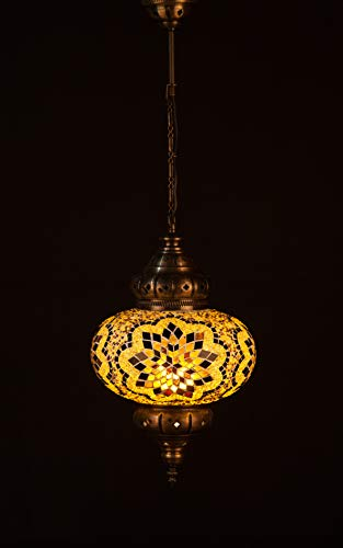 Handmade Turkish Lamp Moroccan Ottoman Style Mosaic Oval Mosaic Hanging Lamp Single Chain Lights Home Bedroom Restaurant Cafe Decoration Light Size 5 Brown&Amber Typhoon