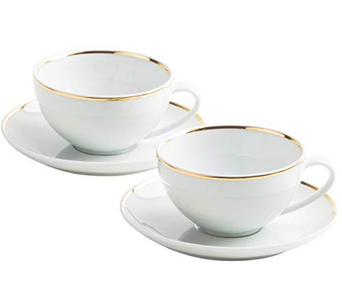 KAHLA 550262A30021C Line of Gold Magic Grip Tassen Set für 2 Personen Teetassen Cappuccino Tassen 2 Stück 4-teilig rund weiß Echtgold Gold-Rand handgemacht