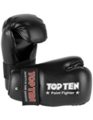Top Ten Competición Vinilo Semicontacto Guantes - Negro - Medium
