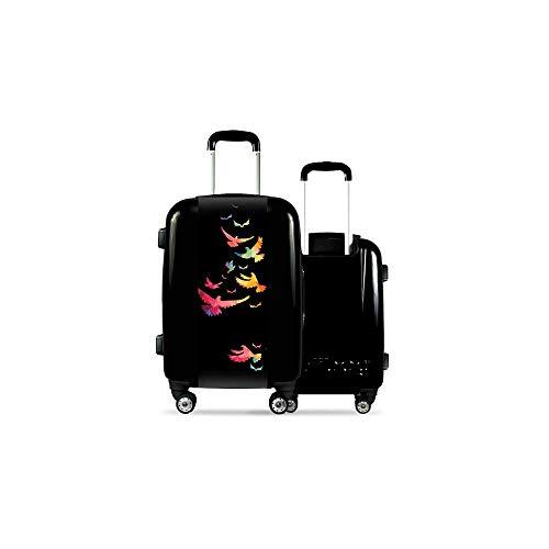 Valise CALIBAG (Taille L) Oiseaux Multicolores Noir