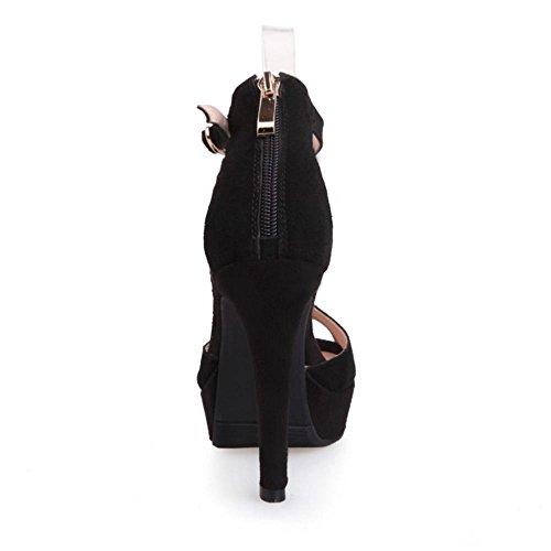 COOLCEPT Femmes Talon hauts Peep Toe Sangle de Cheville Soiree Sandales for Mariage Soiree Travail Chaussures Noir Noir