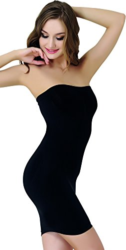 UnsichtBra Damen Figurformendes Miederkleid Trägerlos Schwarz